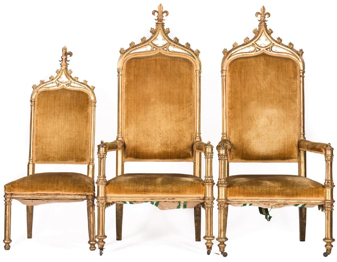 3 American Gothic Revival Gilt Chairs