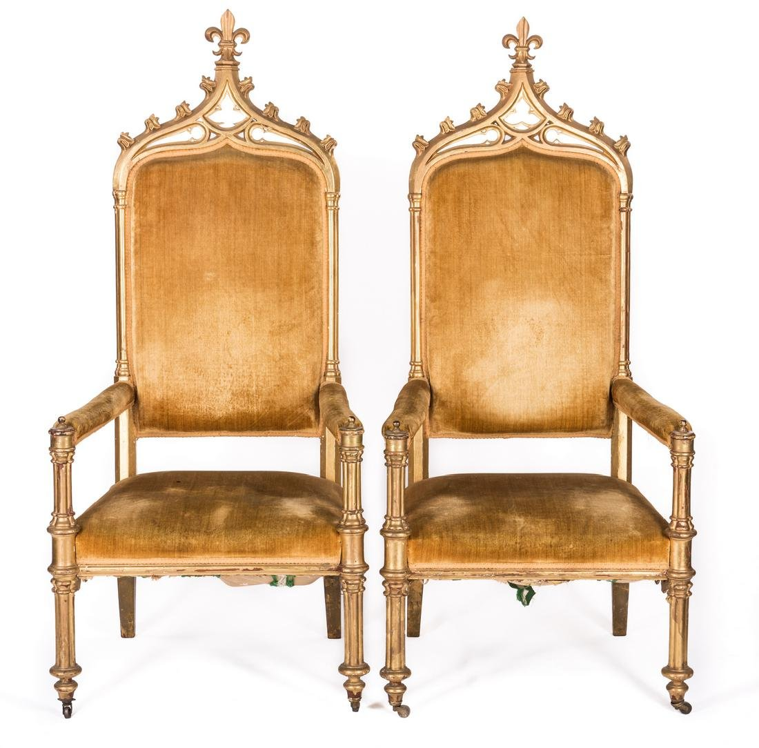 3 American Gothic Revival Gilt Chairs - 2