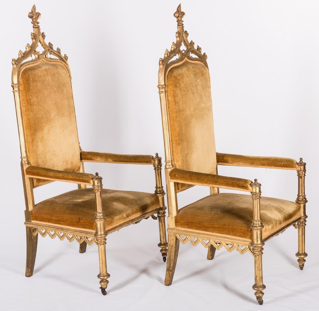 3 American Gothic Revival Gilt Chairs - 3