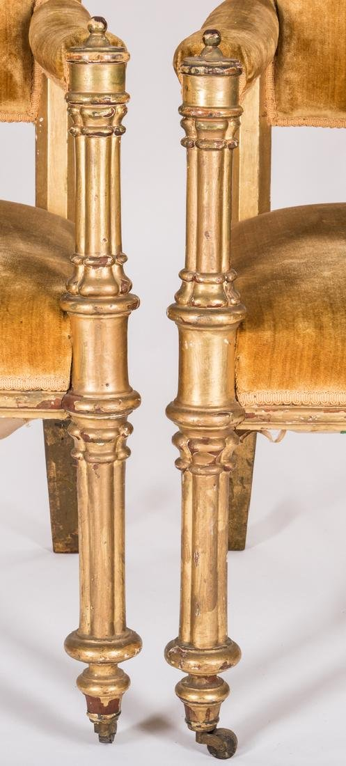 3 American Gothic Revival Gilt Chairs - 8
