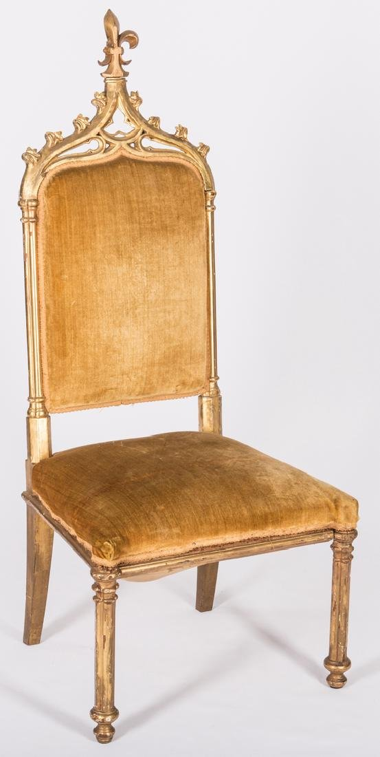 3 American Gothic Revival Gilt Chairs - 9