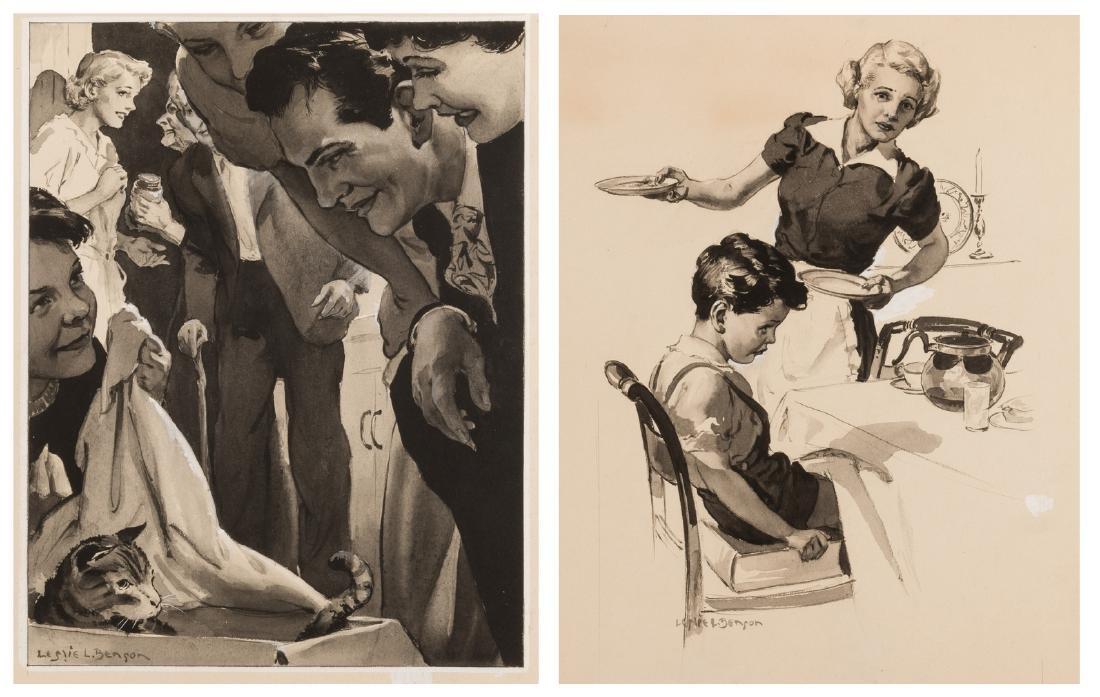 2 Leslie Benson illustration paintings