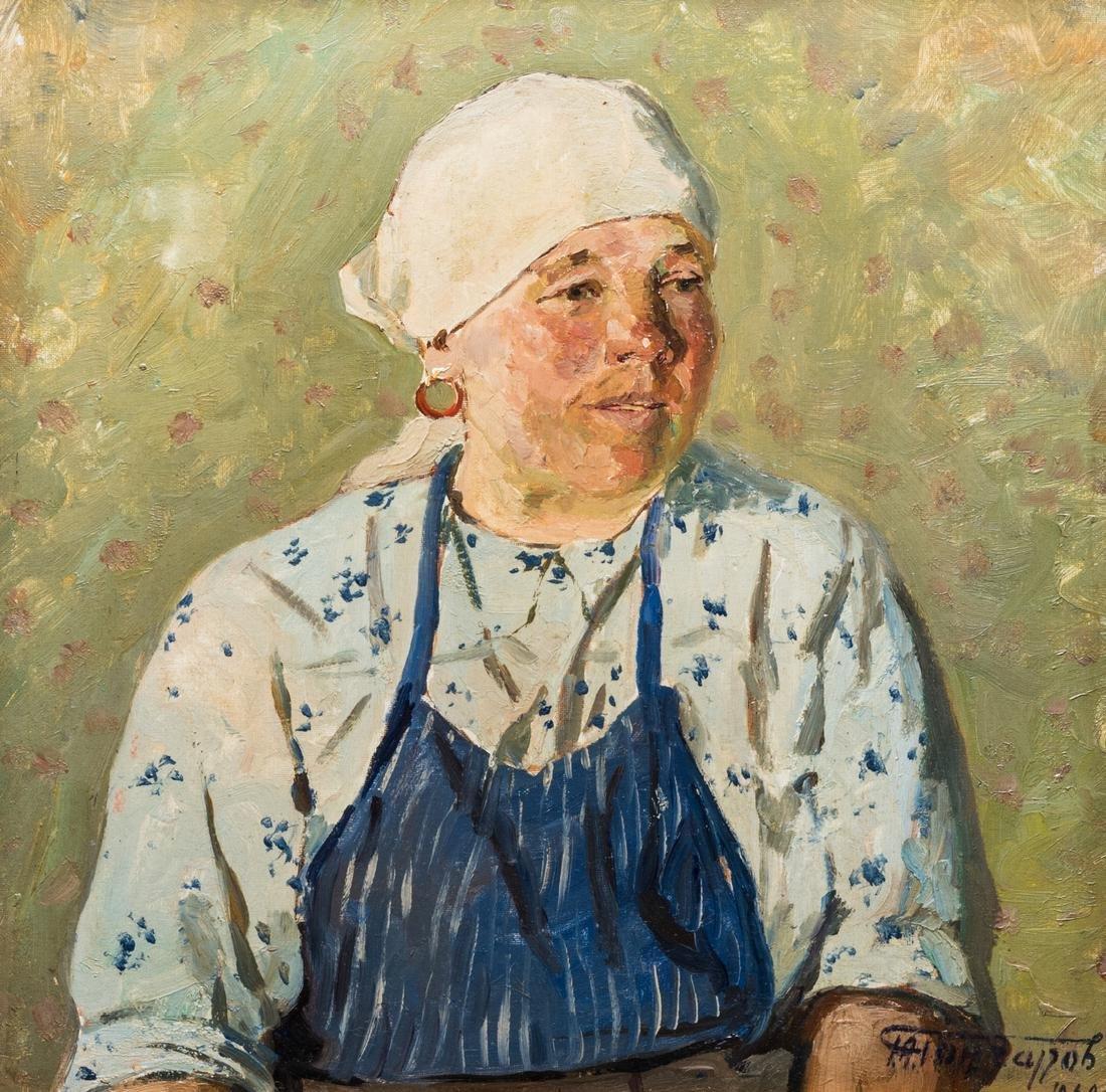 G. Goncharov Oil on Board Portrait