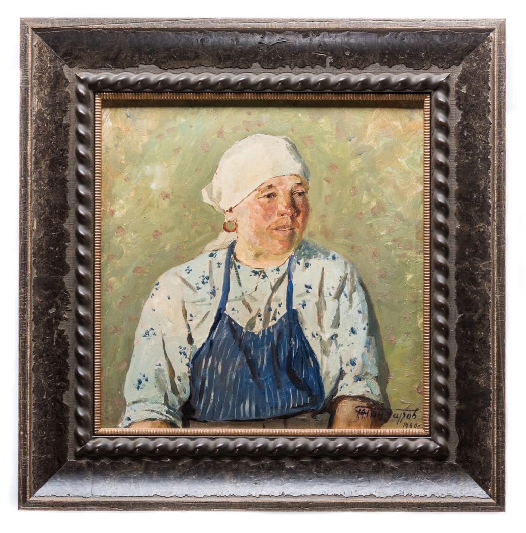 G. Goncharov Oil on Board Portrait - 2