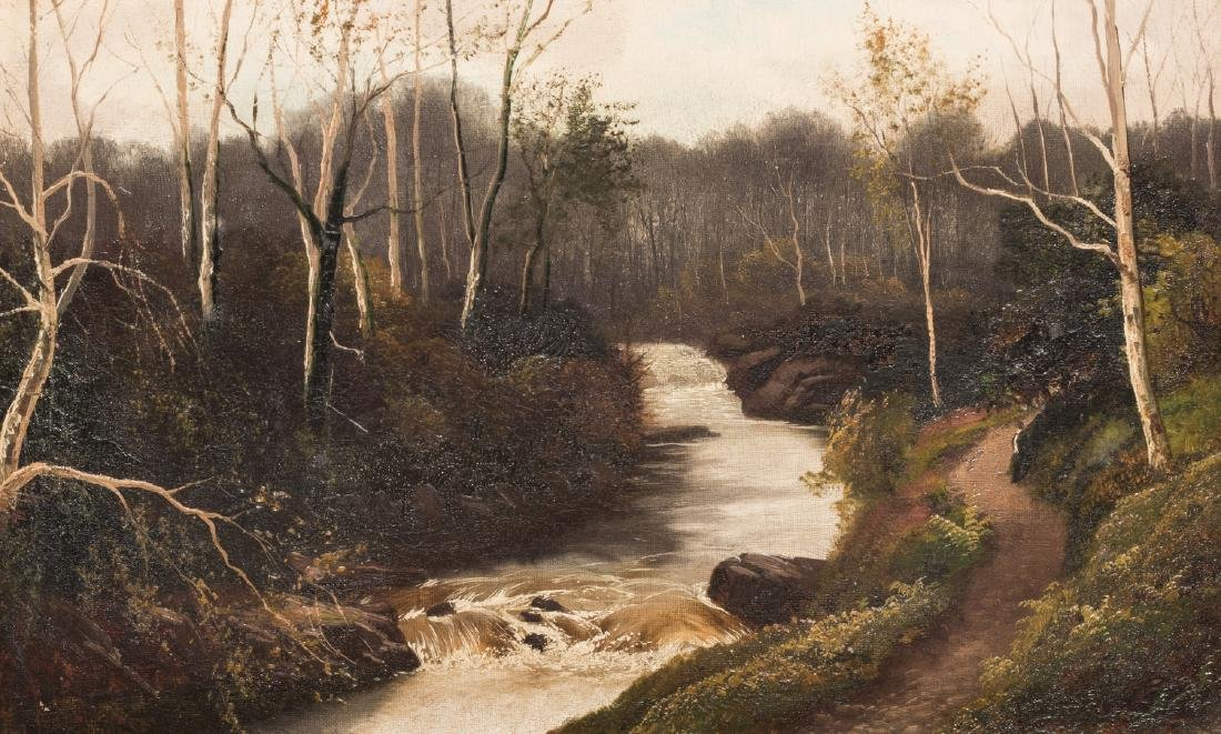 Henry Robinson Hall, O/C, Stream with Birch Trees - 2