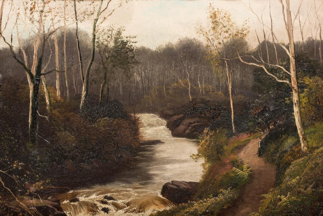 Henry Robinson Hall, O/C, Stream with Birch Trees - 3