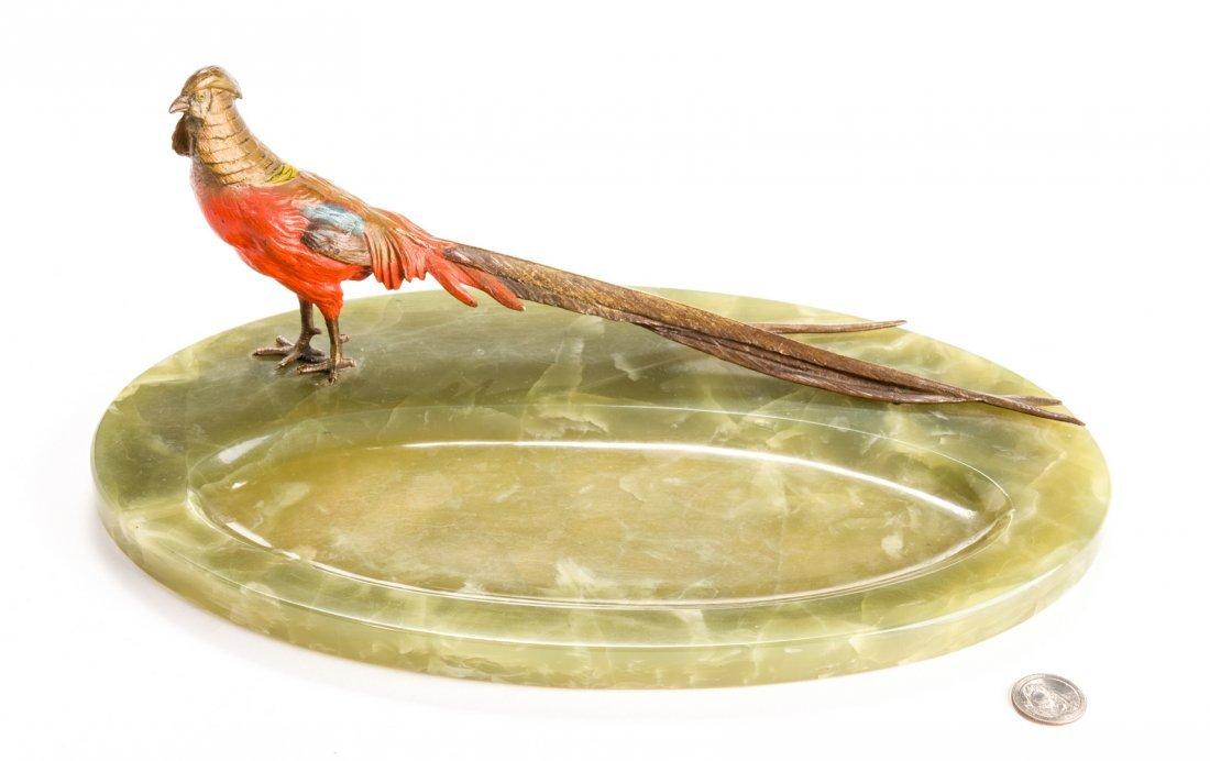 Austrian Bronze Pheasant with Green Onyx Tray