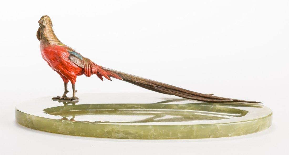 Austrian Bronze Pheasant with Green Onyx Tray - 4