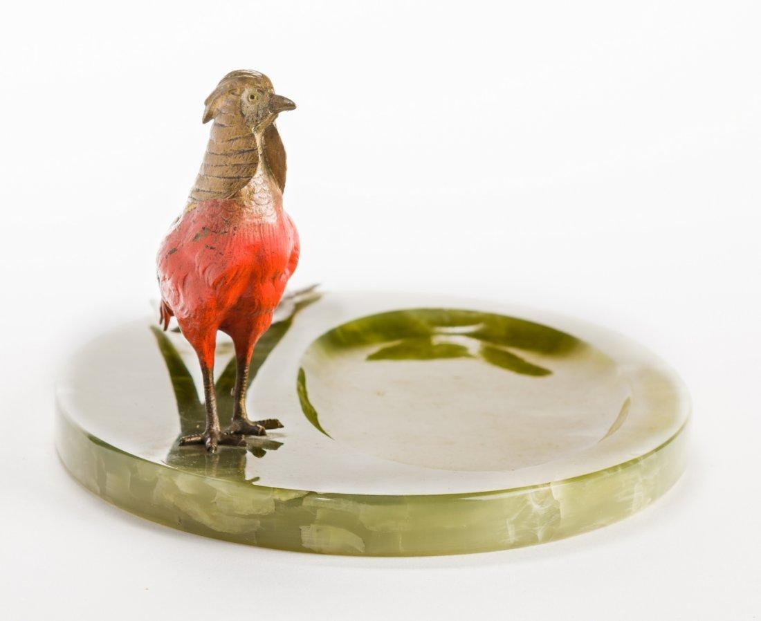 Austrian Bronze Pheasant with Green Onyx Tray - 5