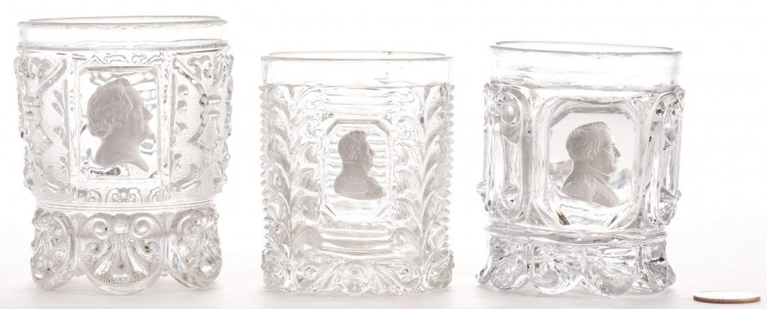 3 French Sulfide Glass Tumblers