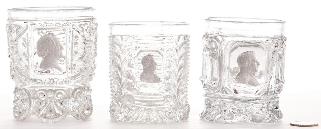 3 French Sulfide Glass Tumblers - 2
