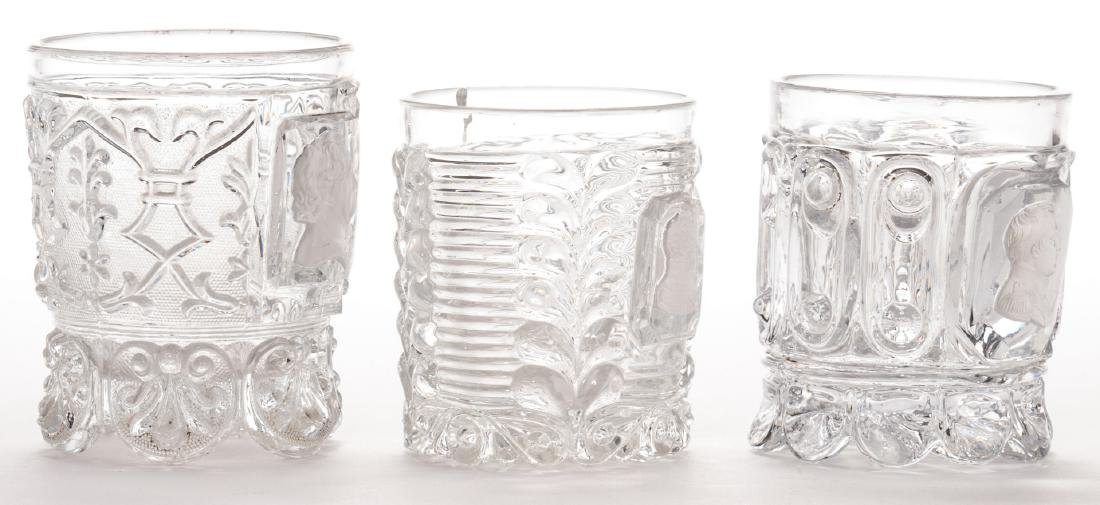 3 French Sulfide Glass Tumblers - 3