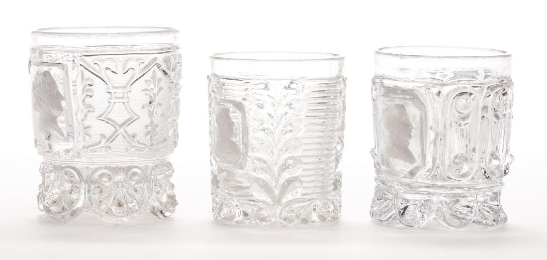 3 French Sulfide Glass Tumblers - 6