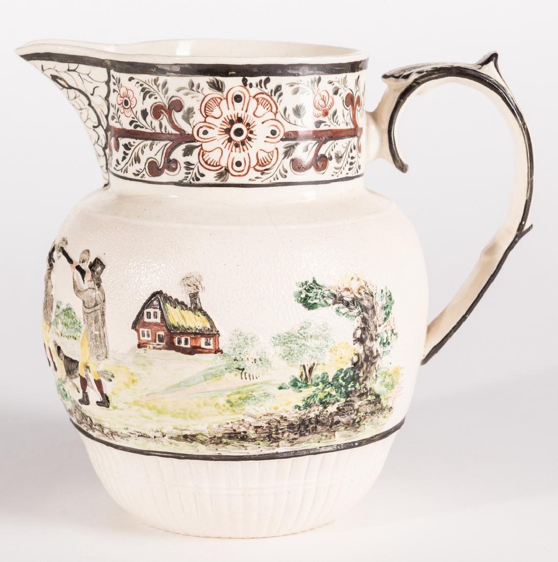 Creamware Hunt Jug, Dr. Wall Dish and Pearlware Bowl - 10