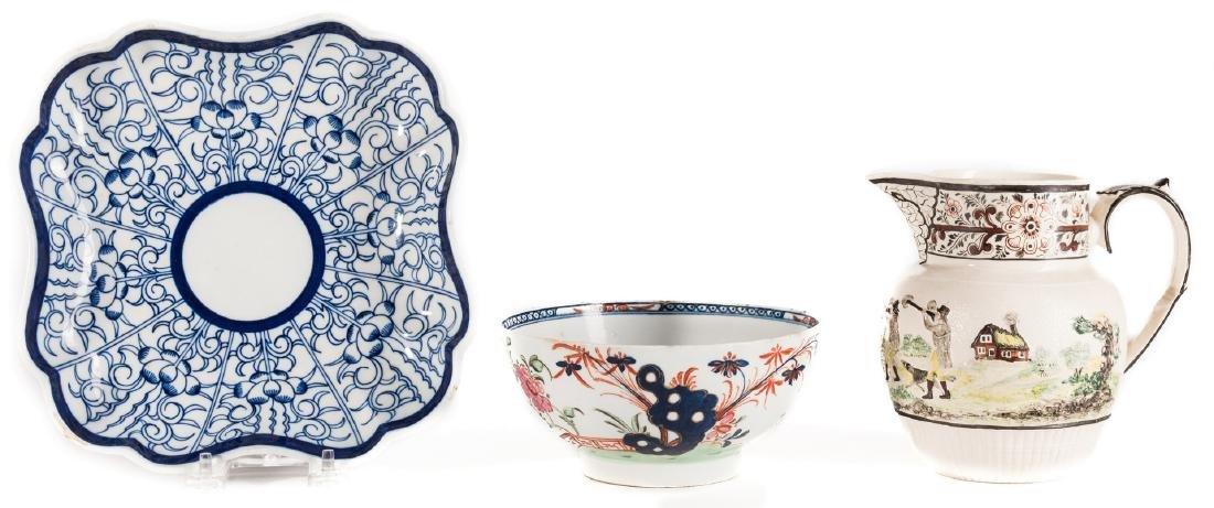 Creamware Hunt Jug, Dr. Wall Dish and Pearlware Bowl