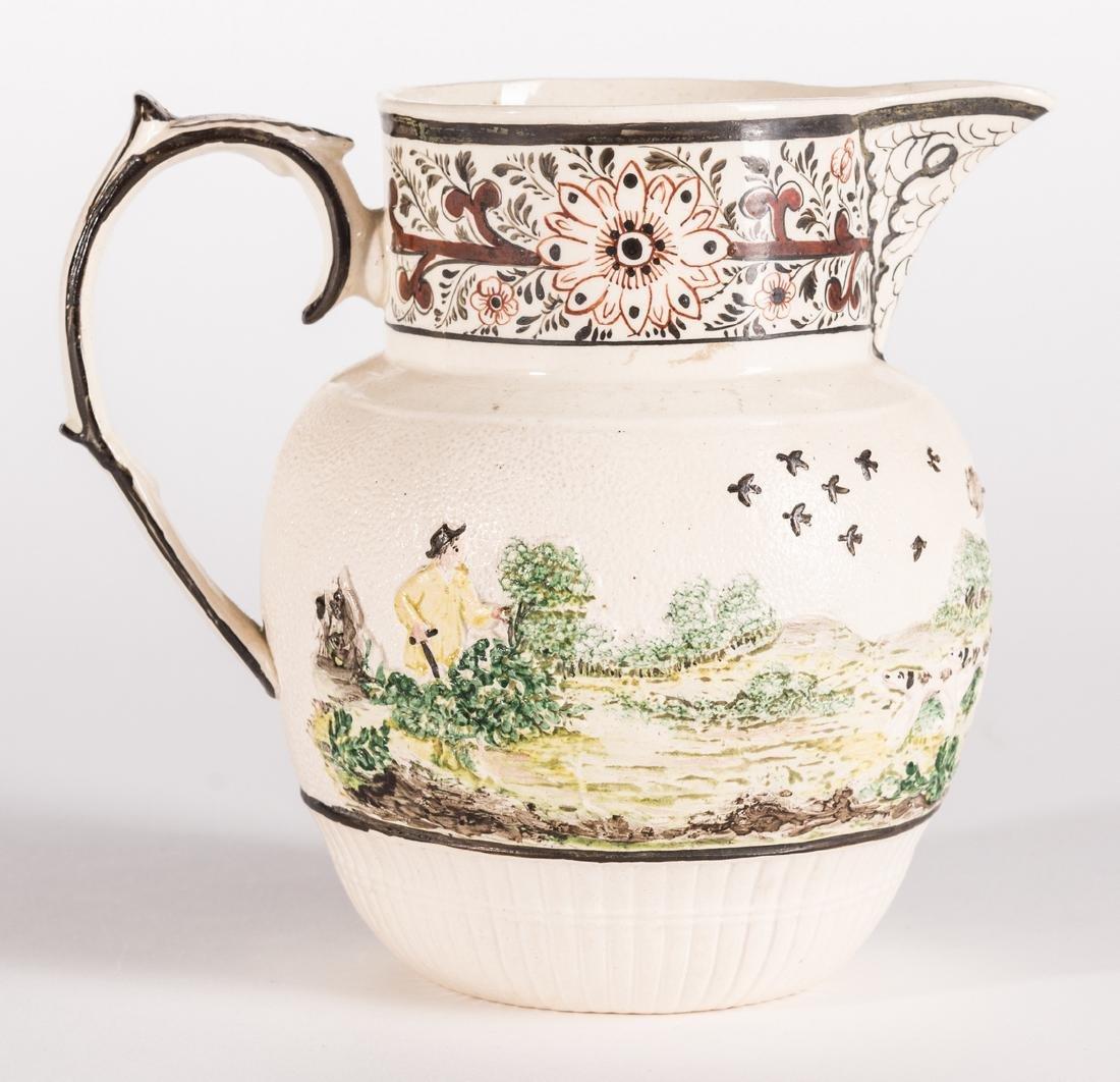 Creamware Hunt Jug, Dr. Wall Dish and Pearlware Bowl - 2