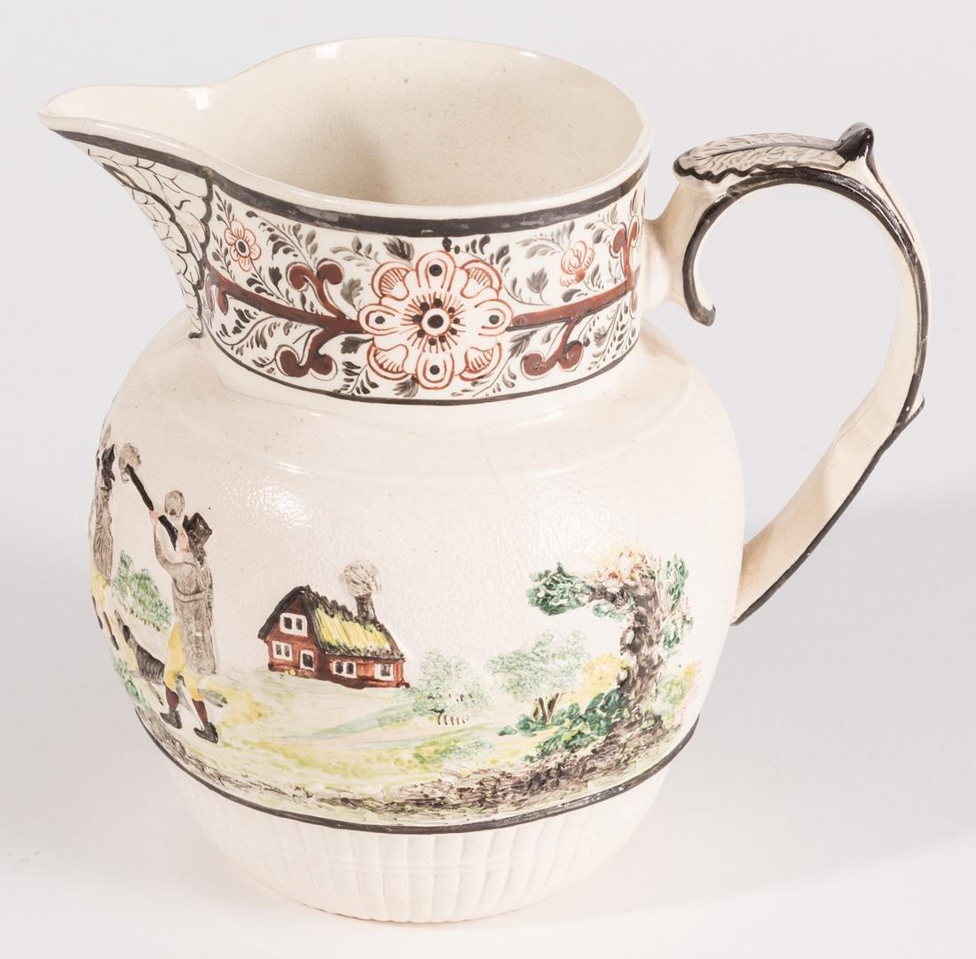 Creamware Hunt Jug, Dr. Wall Dish and Pearlware Bowl - 3