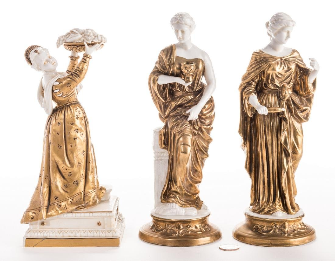 3 Blanc De Chine Gilt Decorated Female Figures
