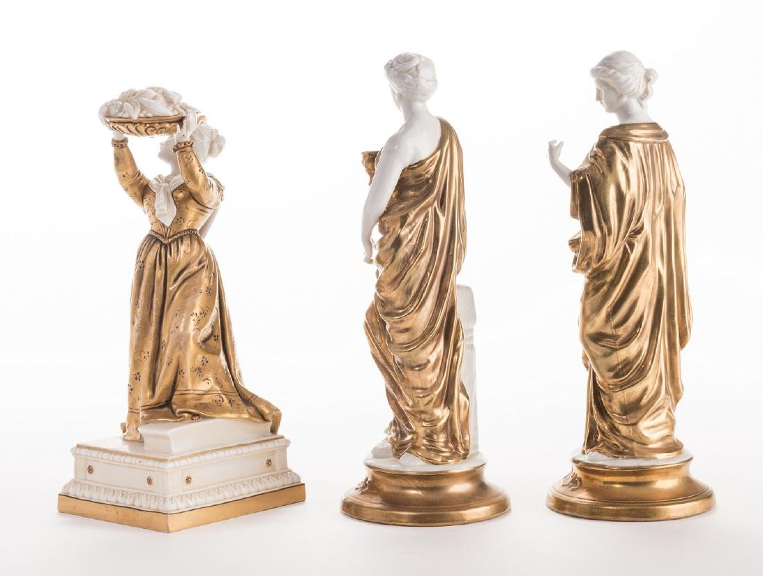 3 Blanc De Chine Gilt Decorated Female Figures - 2