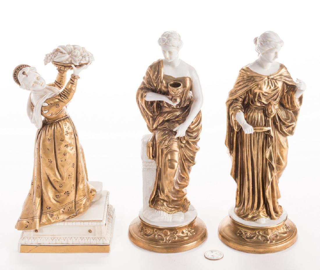 3 Blanc De Chine Gilt Decorated Female Figures - 3