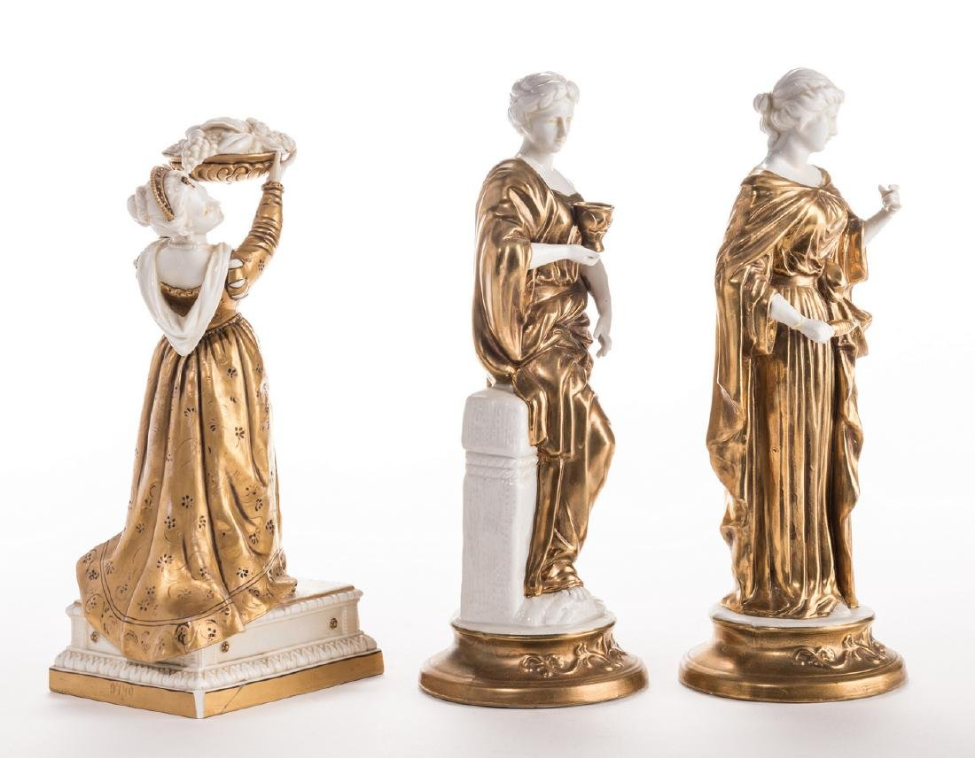 3 Blanc De Chine Gilt Decorated Female Figures - 4