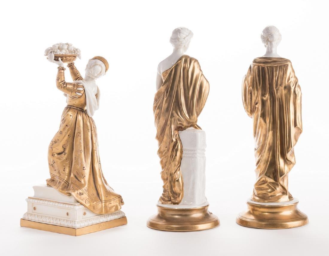3 Blanc De Chine Gilt Decorated Female Figures - 5