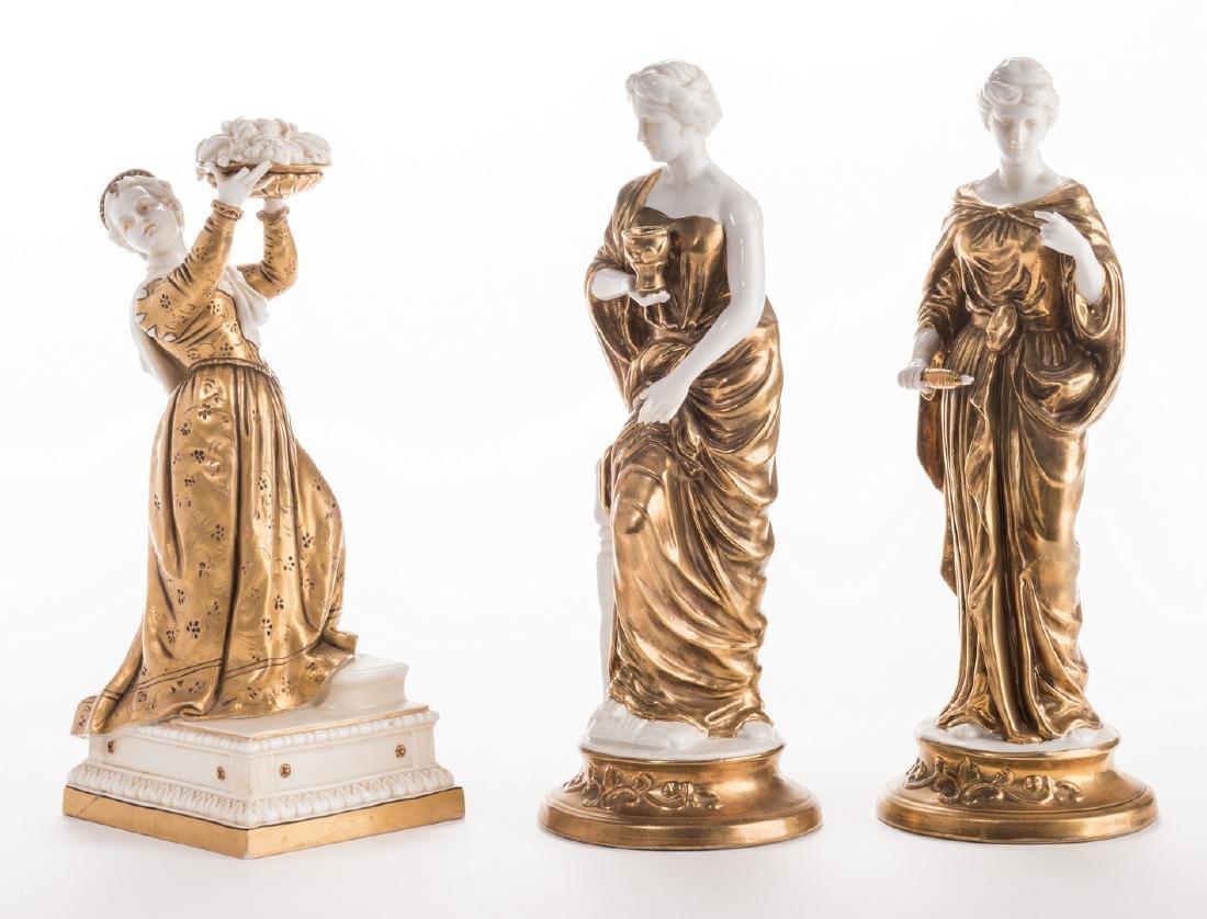 3 Blanc De Chine Gilt Decorated Female Figures - 6