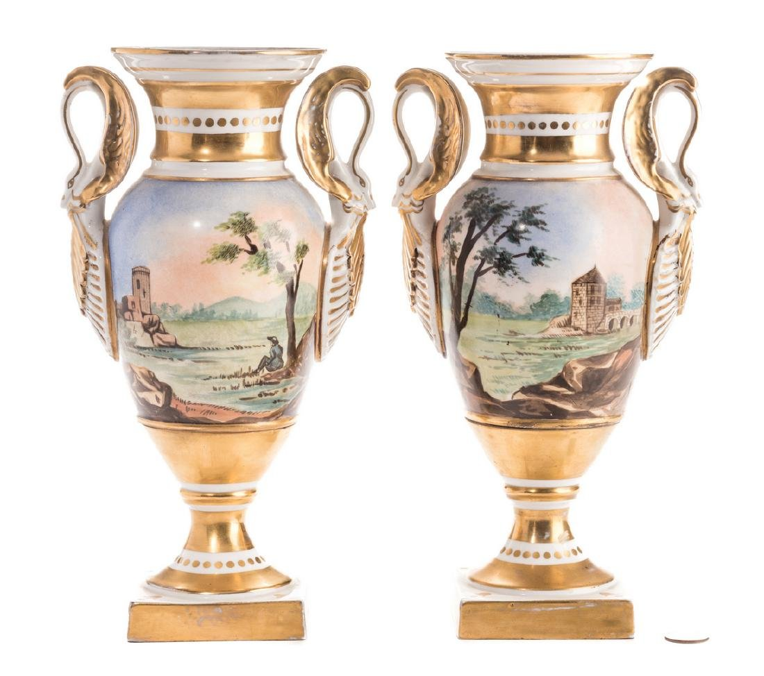 Pair French Porcelain Urns