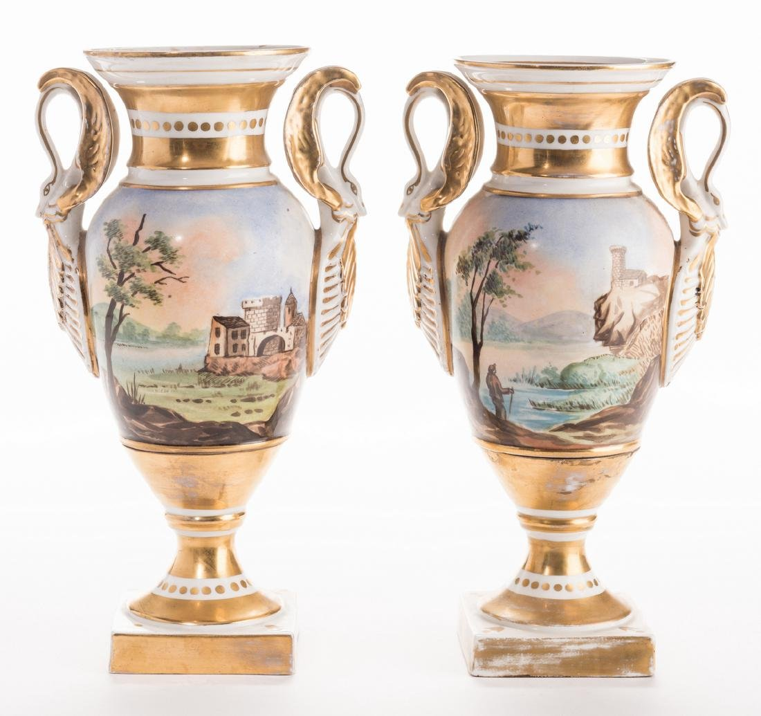 Pair French Porcelain Urns - 2