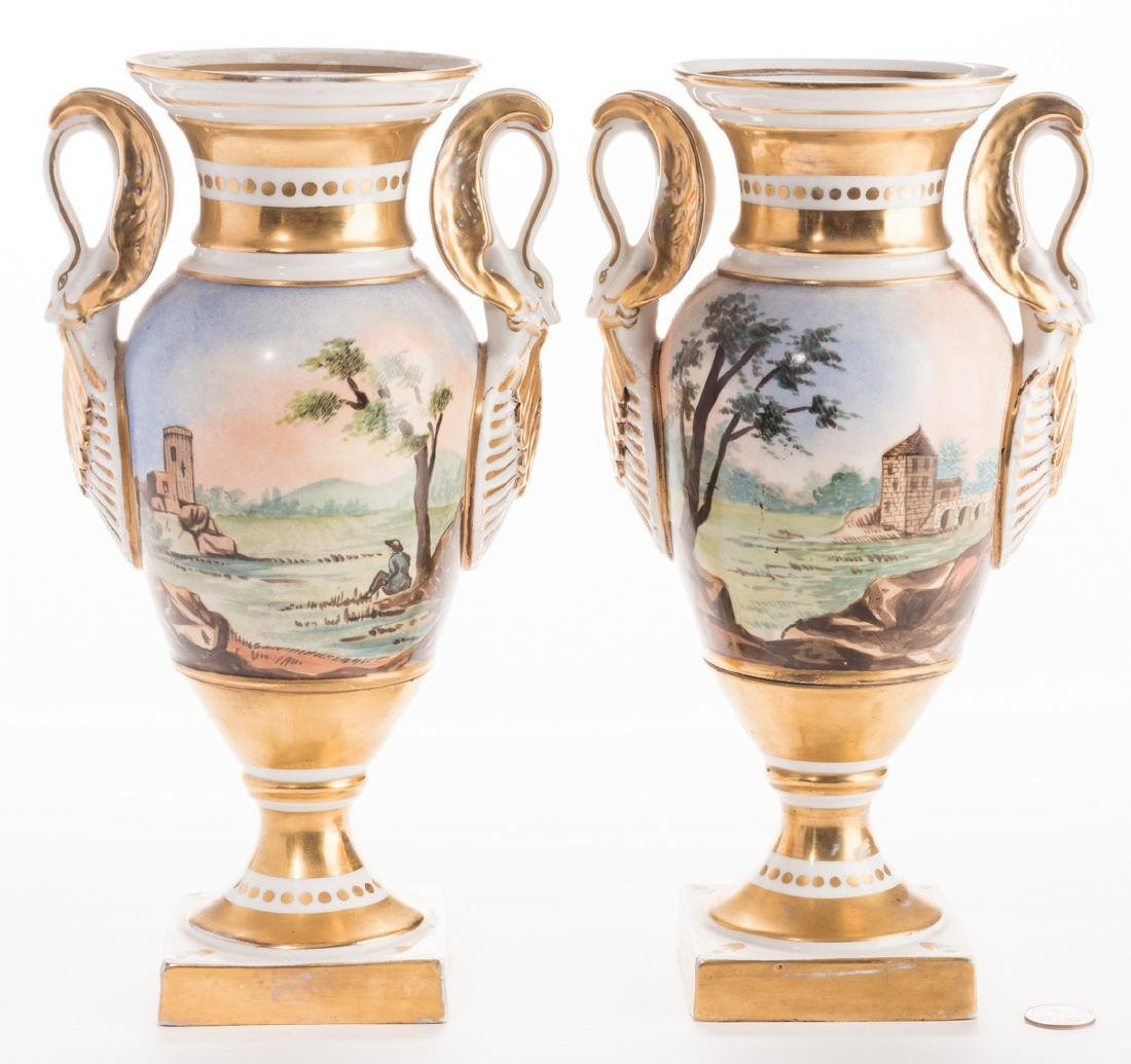 Pair French Porcelain Urns - 3
