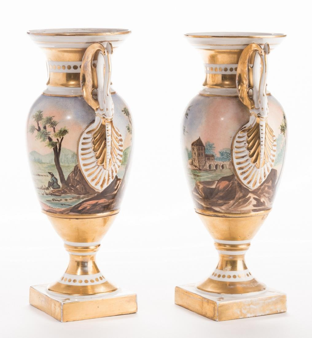 Pair French Porcelain Urns - 4