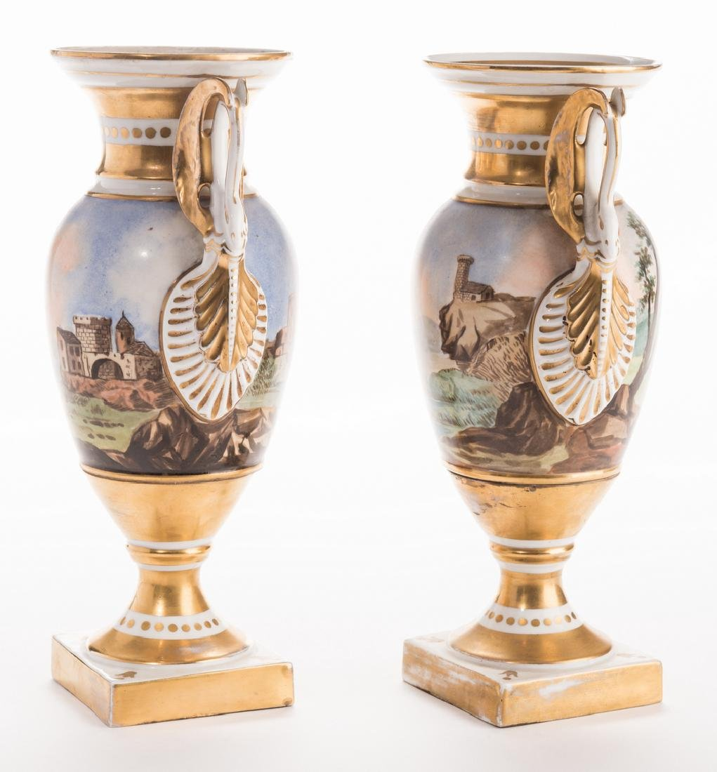 Pair French Porcelain Urns - 7