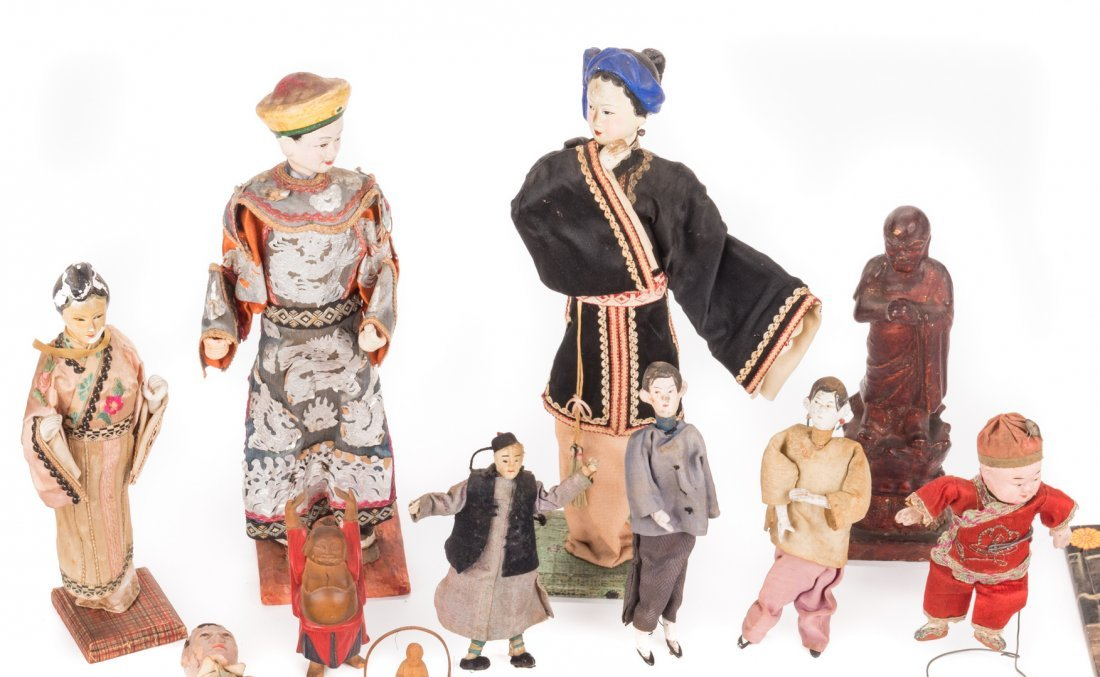 16 Vintage Chinese Dolls, Accessories & Carvings, 17 - 2