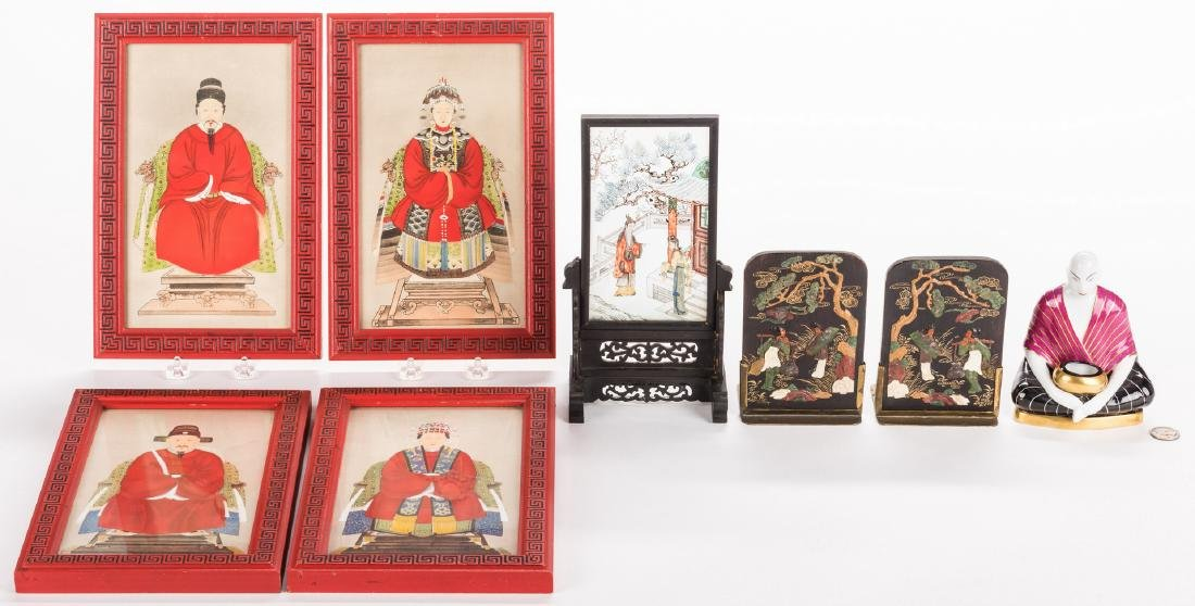 4 Chinese Ancestor Portraits & 3 Asian Decorative