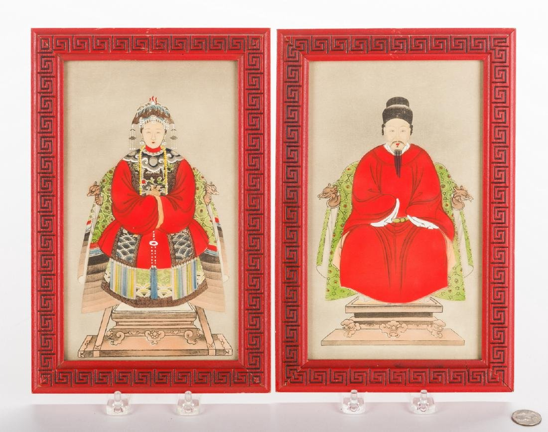 4 Chinese Ancestor Portraits & 3 Asian Decorative - 3