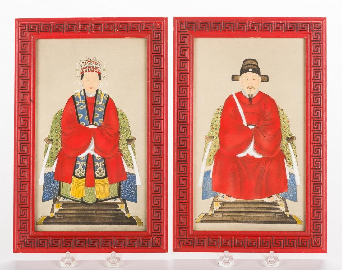 4 Chinese Ancestor Portraits & 3 Asian Decorative - 4