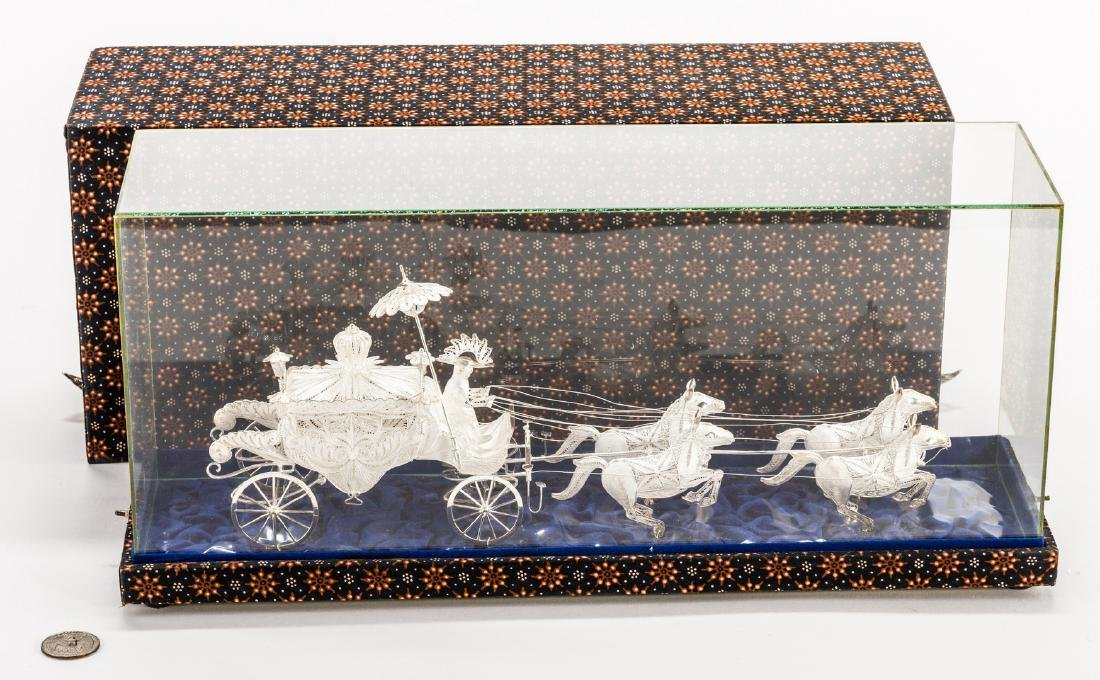 Indonesian or Asian Silver Filigree Carriage w/ Horses