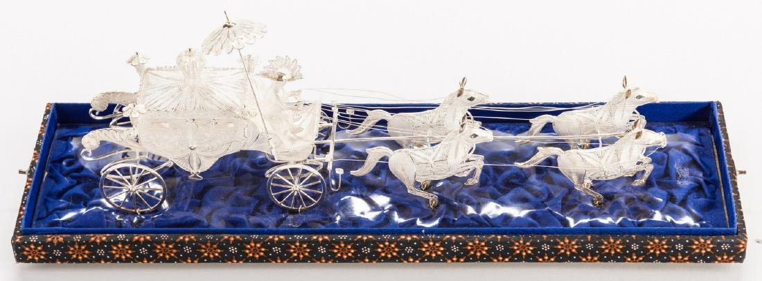 Indonesian or Asian Silver Filigree Carriage w/ Horses - 2