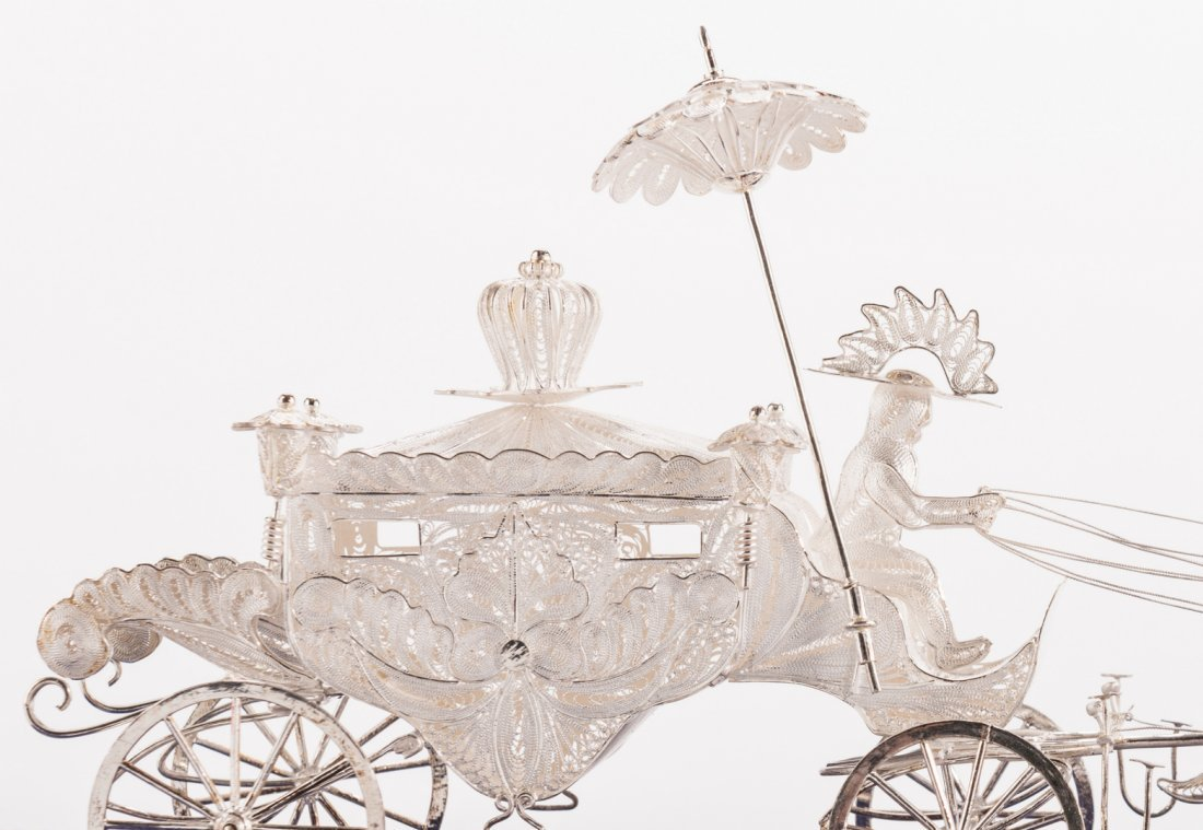 Indonesian or Asian Silver Filigree Carriage w/ Horses - 5