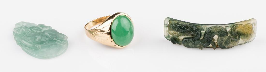 18K Apple Green Jade Ring + 2 Plaques