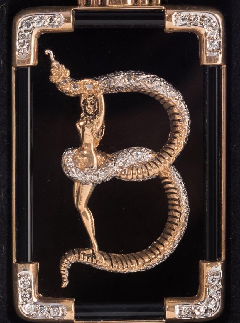 Erte Bronze Letter B Brooch - 2