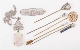 14K  10K Vintage Jewelry w Diamonds 7 items