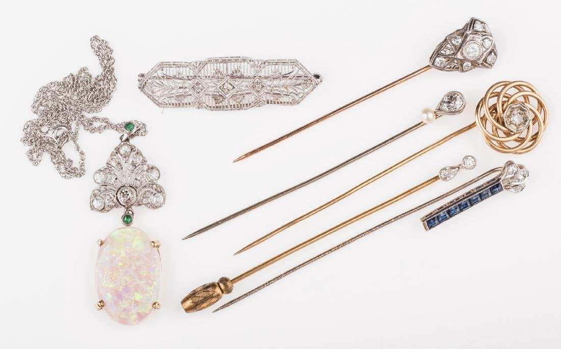 14K & 10K Vintage Jewelry w/ Diamonds, 7 items
