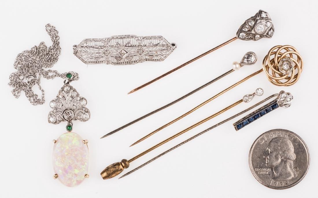 14K & 10K Vintage Jewelry w/ Diamonds, 7 items - 2