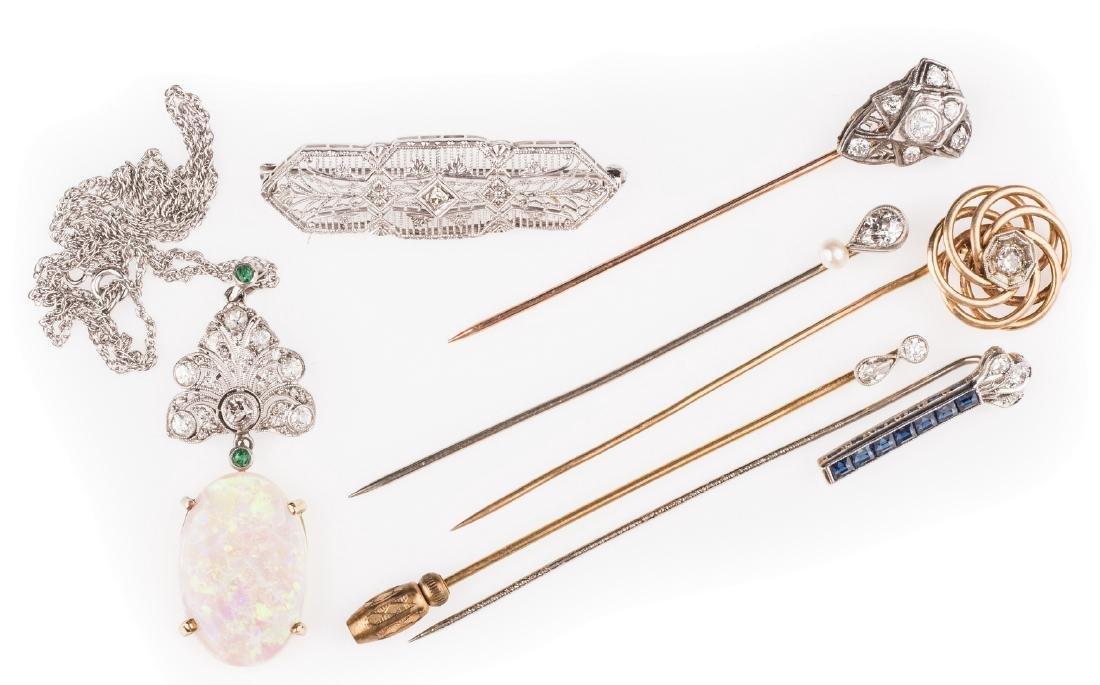 14K & 10K Vintage Jewelry w/ Diamonds, 7 items - 7