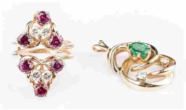 14K Gemstone Jewelry, 2 items