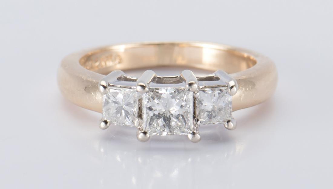 14K 3-stone Princess Diamond Ring