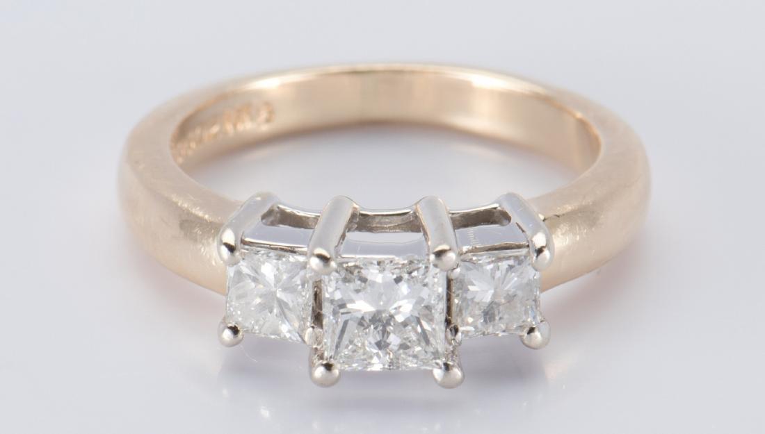 14K 3-stone Princess Diamond Ring - 2