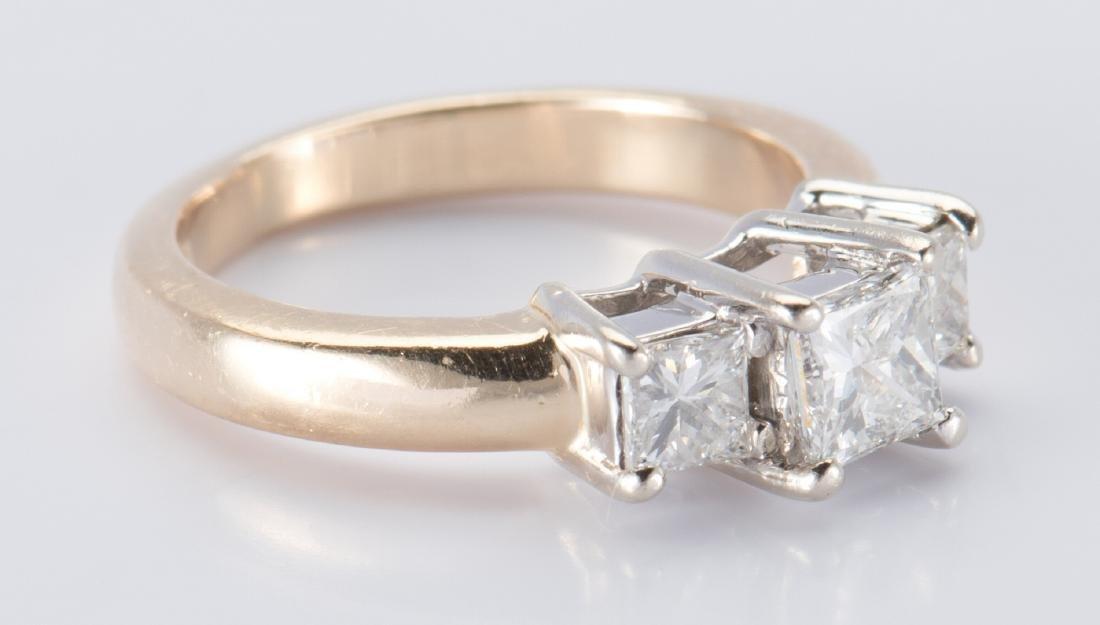 14K 3-stone Princess Diamond Ring - 3