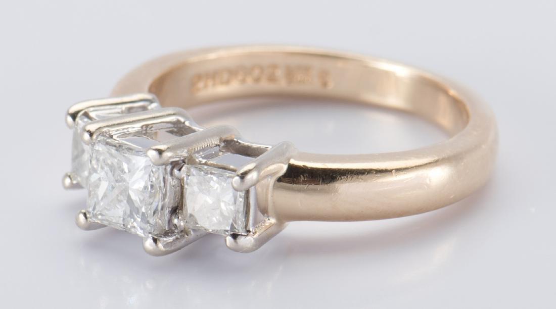 14K 3-stone Princess Diamond Ring - 4